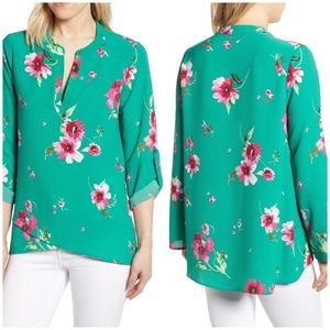 GIBSON Green Erin Cross Front Floral Tunic Blouse